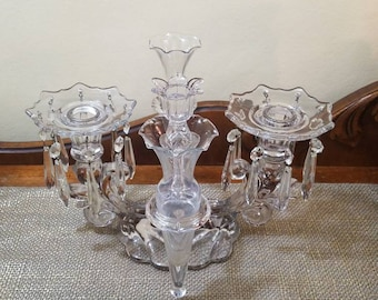 Vintage Cambridge Glass Caprice Clear 3 Light Candelabra with Empergne, Bobeche and Crystal Drops, Candelabra with Crystal Dangles