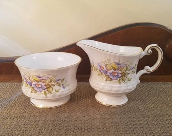 Vintage Queens Rosina Creamer and Open Sugar - Wildflowers -  Cream Pitcher + Sugar Bowl - Vintage English CHina - Morning Glory