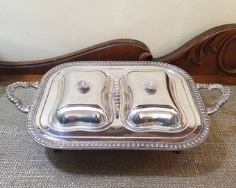 Vintage Silverplate Double Chafing Footed Buffet, Sheridan Silver Plate