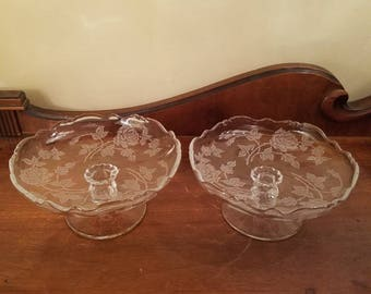 "Vintage Heisey Crystal Comport - 3 5/8"" - Etched Crystal Compote - Heisey Rose - Vintage Glass - Vintage Crystal Compote"