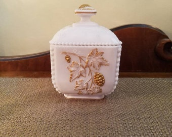 Westmoreland Milk Glass Puff Box with lid, Beaded Paneled Grape, Gold trim Square trinket candy box