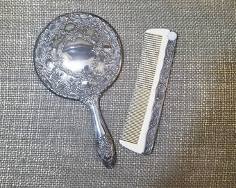 Vintage Silverplate Ornate Vanity Set with  Hand Mirror and Comb, Godinger Silver plate Vanity Set