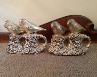 "Vintage Silverplate Lovebird Salt and Pepper Shakers - 4"" Tall - Mid Century- Hollywood Regency Ornate Shakers - Lovebirds on nests"