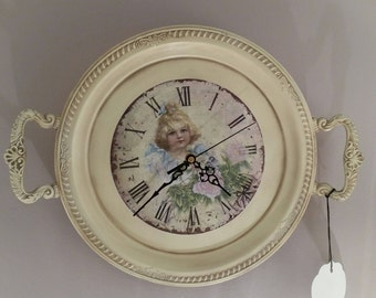 Unique Wall Clock Made from Vintage Upcycled Silverplate Tray Clock in Cream
