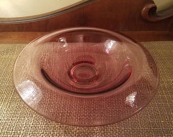 "FENTON Glass Rolled Rim Bowl in Dusty Rose,  9 .75"" Purplish Pink Glass Fenton Rolled Rim Bowl"