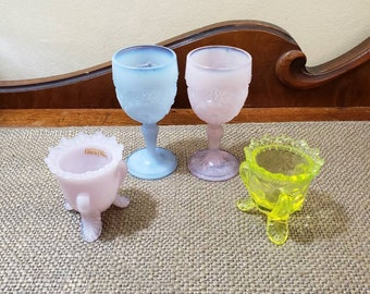 Vintage Mixed Lot of Opalescent Glass, Toothpick holder, Egg Cup, Mini Goblet