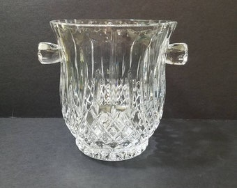 "Vintage Gorham Crystal Ice Bucket,  6 3/4"" Tall Gorham King Edward 1980's Crystal Bucket"