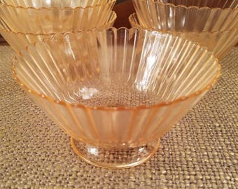 "Pink Depression Glass Desert/Berry Bowl Set of 6, 4.5"" Diameter"