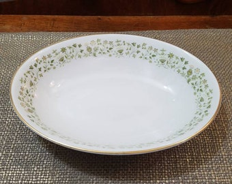 """Royal Doulton Westfield Oval Vegetable Bowl 9"""" Long, Small Green & Yellow Floral On Rim"""