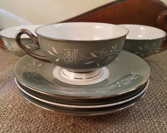 Vintage Syracuse China Teacup and Saucer set in Candlelight  Pattern, Sold as a set of 3, Made in USA, Green Teacup Platinum Trim