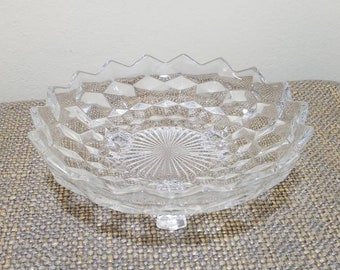 """Vintage Colony Whitehall 3 Footed Glass Bon Bon Dish 7 """", Hexagonal Footed Candy Dish, Cubist Candy Bowl, Slight Damage"""