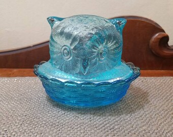 LG Wright Light Blue Glass Owl Trinket Bowl with Lid, Clear Blue Owl Head on Braided Nest Candy Dish, Hard to find!!!