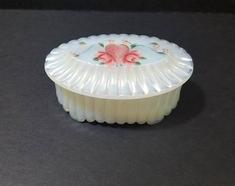 Fenton Glass White Opalescent Carnival Glass Oval Jewel Box, Hand painted Trinket Jar, #9589 Jewel Box made 1980's