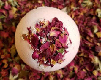 "Rose scent Bath Bomb 6 Pack of  Victorian Rose Bouquet, 4oz and 2.5"" Bath Bomb with Rose Petals"