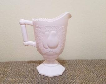 "Jeannette Pink Milk Glass Baltimore Pear Cream Pitcher 5 1/4"" Tall, Vintage Pink Milk Glass Creamer"