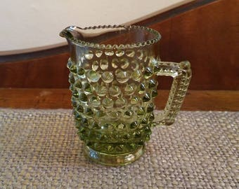 "Vintage Fenton Glass Colonial Green Hobnail Short Cream Pitcher - 3 1/8"" T - Hobnail Creamer w Handle- Colonial Green Mini Cream Pitcher"