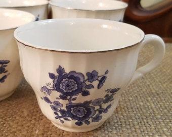 Vintage Enoch Wedgwood (Tunstall) Ltd. Teacup Set of 6 - Royal Blue Ironstone - Blue Flower Teacups - Optic Swirl - Silver Trim
