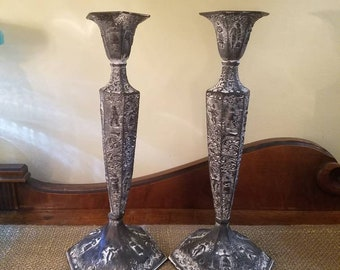 Vintage Silverplate Repousse Candlesticks - Highly Ornate Repousse- Hand chased, Late 1800's - Early 1900's -Painted Black and White