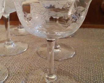 "Vintage Etched Rose Crystal Champagne Glasses - 4 5/8"" - Set of 6 - Optic Crystal Low Sherbert Glasses with Etched Roses"