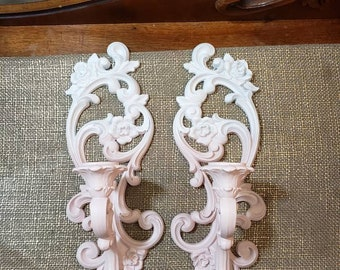 Vintage Homco Resin Candlestick Wall Sconce Set updated in White to Pink  Ombre Fade, Hollywood Regency, 1971, Painted Wall Decor