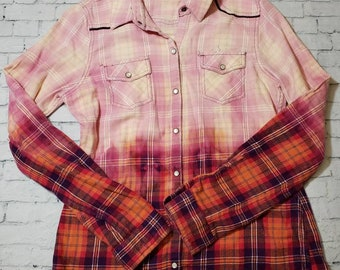 Kids Bleached Flannel Long Sleeve Pink Shirt Girls Large , Pink Plaid Bleached Shirt Cool Ombre Fade Boho Grunge