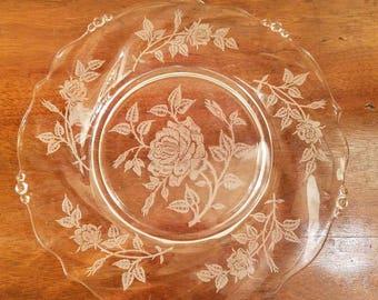 "Vintage Heisey Crystal Salad plate - 8"" - Etched Crystal plate - Heisey Rose - Vintage Glass - Vintage Crystal salad plate"