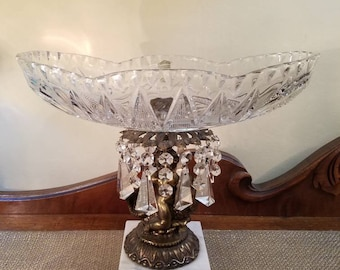 Vintage Cut Crystal Compote Dish w  Crystal Drops - Marble Base - Cherub on Fish - Hollywood Regency- Oblong Compote