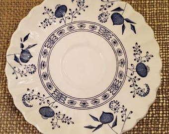 J & G Meakin Nordic Blue Tea Cup Saucers Set of 3, Blue and White Saucers of Ironstone