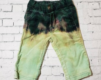 Kids Bleached Corduroy Plaid Pants Boys 3-6 months, Hand Bleached in Cool Ombre Fade Updated Green Corduroy bottoms
