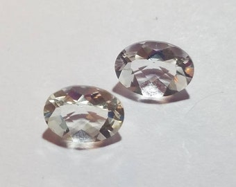 Matched Pair of Oval Quartz Loose Gemstones, 8.5x6.5mm 2.2ct tw