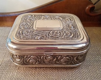 Vintage Godinger Silverplate Large Trinket Box, Metal Box, Silverplate Box w Red Velvet liner ,Repousse Roses - Wedding Box
