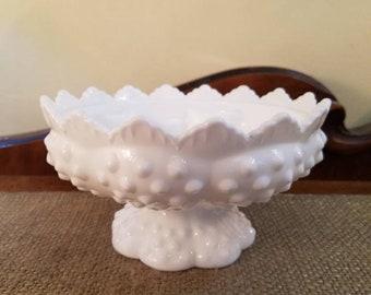 "Vintage Fenton Glass Hobnail Milk Glass Candlestick Centerpiece Bowl, 3 1/2"" Tall - Milk Glass Hobnail - Vintage Candleholder 6 Candle #3872"