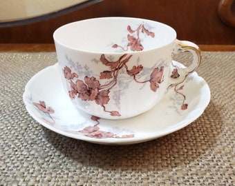Vintage Haviland & Co Limoges France Teacup and Saucer - Aesthetic Brown Tea Cup Produced 1879 - 1889