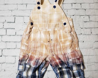Kids Bleached Cotton Overall Pants 3-6 Months, Blue Plaid - Bleached Pants, Boho Grunge