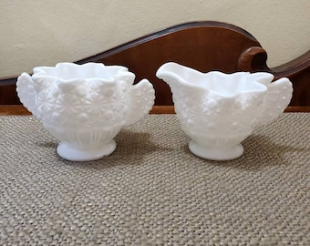 Fenton Milk Glass Daisy Button Star Crimped Creamer and Sugar Set