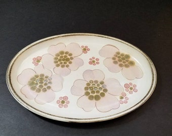 """Denby-Langley Gypsy 12"""" Long Oval Serving Platter, Lavender and Pink Poppy Fine English Stoneware"""