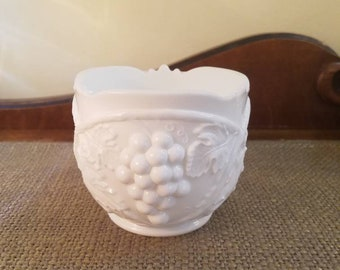 "Vintage Duncan & Miller Milk Glass Open Sugar Bowl - 3.5"" Tall - Grape Pattern #719 - Scalloped edge Saw tooth edge Sugar Bowl"