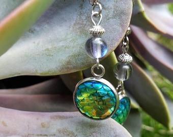 Handmade Gemstone Mermaid Dangle Earrings, Semi-precious Stainless Steel, Genuine Quartz, Mermaid Scale, Pink Blue Green White Lilac