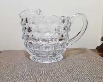"Vintage Fostoria American Clear Glass Pint Pitcher w Ice Catcher,  6 1/2"" Tall, Pressed Glass, Fostoria American Clear, 3 Pint Ice Jug"