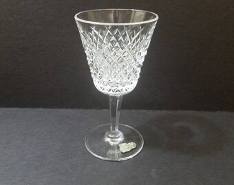 "Vintage Waterford Crystal Alana Wine Glass 5.5"" Tall, Crosshatch Crystal Wine Goblet"