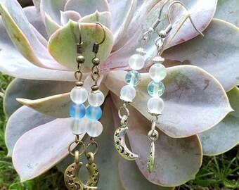 Handmade Crescent Moon Gemstone Dangle Earrings, Semi-precious Bead Drop Ears, Your Choice Stainless Steel or Antique Brass, Celestial