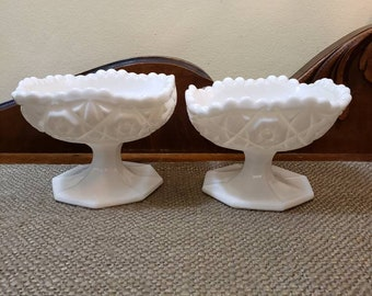 "Fostoria Winburn Square Milk Glass Compote - 3.5"" Open Jam/Jelly Pedestal Bowl,"