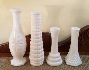 Vintage Milk Glass Vases - Set of 4 Mixed Lot - Wedding Decor - Shower Decor - Shabby - Country - Farmhouse - Cottage