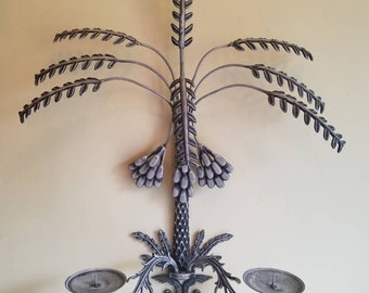 "Vintage Brass Candlestick Wall Sconce updated in ""Flirty Flint"", XL Date Palm Frond Candle Holder 26"" tall!"