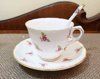 Vintage Royal Kent China Pink Rose Teacup, Saucer and Stirring Spoon, Vintage English China Teacup, Pink rose teacup