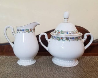 Vintage PMR Jaeger & Co Cream Pitcher and Sugar Bowl with Lid, Floral Vine Tea Set Made in Bavaria
