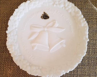 """SALE!!!Vintage FENTON Wedding Decorative Plate in White Satin Milk Glass, Wedding Day Plate """"I love you more today than yesterday..."""""""