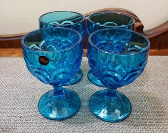 "LE Smith Blue Glass Claret Wine Glass Set of 4, Moon and Stars, 4 3/4"" Tall, #4262 6oz Glass"