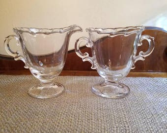 "Vintage Fostoria Crystal Cream and Sugar Set - 4"" Tall - Beaded Edge Crystal Cream + Sugar -Century Pattern - Crystal Creamer"