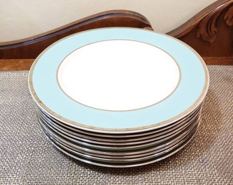"Taylor Smith & Taylor 10 1/2"" Dinner Plate Set of 9, Platinum Blue"